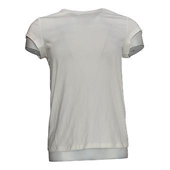 Anybody Women's Top (XXS) Cozy Knit Shrunken Boyfriend Tee White A378607