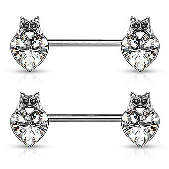 Pair of nipple barbell rings cat with black crystal eyes over heart design 14g