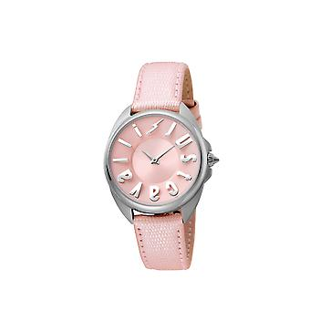 Just Cavalli JC1L008L0035 Womens Pink leather strap watch with pink dial