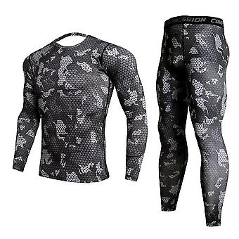 Men's Camouflage Thermal Underwear Set, Winter Thermal Sports Compression Long