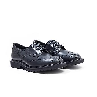 Tricker's Bourton Olivvia Leather Black Derby Brogue Shoes