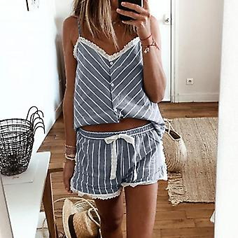 Women's Stripe Short Pajamas Set Sleeveless Camisole Shorts Set