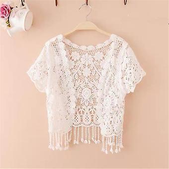 Women's Bridal Short Sleeve Shrug Bolero Flower Lace Wedding Summer Jacket