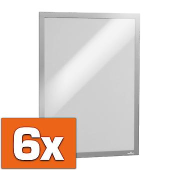 Durável 488323,6 peças de info frame Duraframe (A3, autoadesivo com fecho magnético), prata