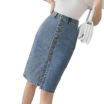 Spring Autumn Sheath Wrap Skirts Single-breasted High Waist Pencil Midi Skirt