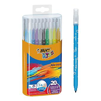 Bic kids kid couleur colouring pens - assorted colours, durable case of 20 pack of 20