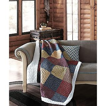 Spura Home Patriotic Charm Patchwork Quilted Sherpa Throw Blanket sofa Bed