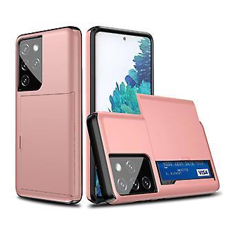 VRSDES Samsung Galaxy S21 Ultra - Lompakkokortin korttipaikan kansikoteloKotelo Business Pink