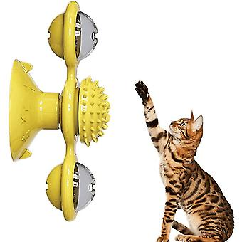 Windmill Scratch Hair Brush- Grooming Shedding, Suction Cup Catnip, Cats Puzzle
