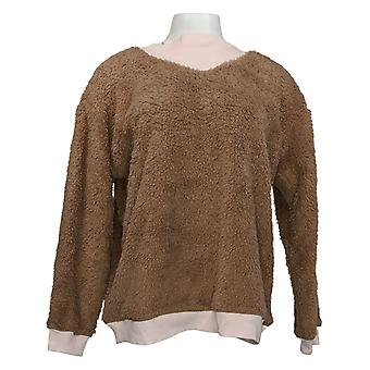 Cuddl Duds Women's Sweater Sherpa Pullover Brown A381802
