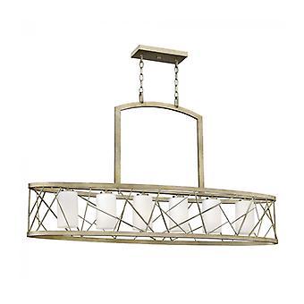 Lámpara Colgante Nest, Ovalada, Plata Y Vidrio, 6 Bombillaa