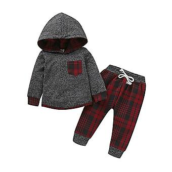 Toddler Infant Baby Casual Clothes Long Sleeve Plaid Pocket Hoodie Tops