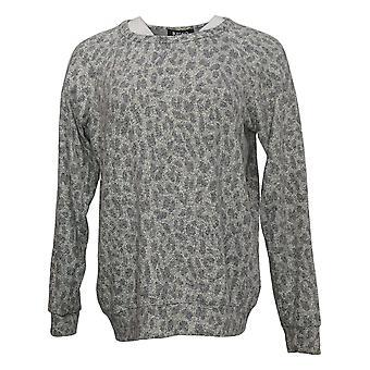 Buffalo Women's Sweater Long Sleeve Printed Crew Neck Gray