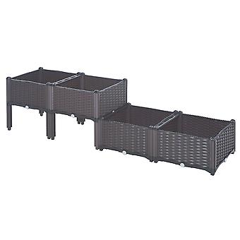 Outsunny  Set of 4 Garden Raised Bed Elevated Patio Flower Plant Planter Box Vegetables Planting Container PP