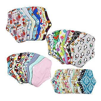 Lady Reusable Cloth Pads With Bamboo Cotton Inner Day Night Menstrual Sanitary