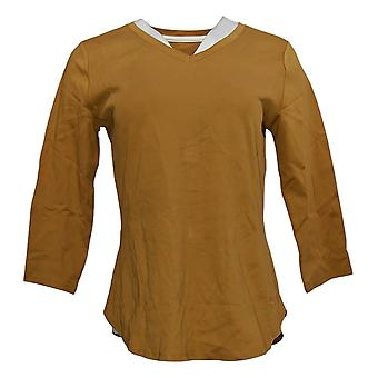 إسحاق مزراحي لايف! Women's Top Pima Cotton المنحني Hem Top Gold A368549