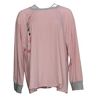 Cuddl Duds Women's Petite Cozy Jersey Novelty Pajama Top Pink A381784