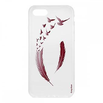 Runko iPhone 7 pehmeä silikoni, höyhenet ja linnut Bordeau