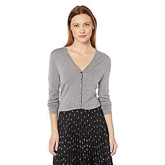 Marque - Lark & Ro Women's Merino Wool Long Sleeve V Neck Cardigan, Bla...