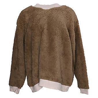 Cuddl Duds Women's Pyjama Top Sherpa Pullover Lange Mouw Bruin A381802