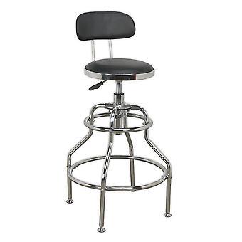 Sealey Scr14 Workshop Stool Pneumatic Adjustable Height Swivel Seat & Back Rest