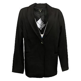 IMAN Global Chic Women's Reg Ponte Knit Blazer Black 724675