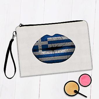 Gave Makeup Taske: Læber græsk flag Grækenland