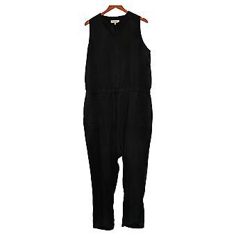 Tute con cucitura laterale senza maniche con cravatta in vita nera A375127