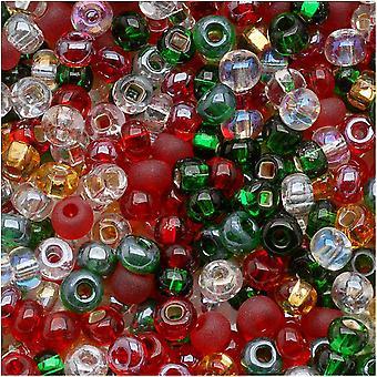 Cuentas de semillas de vidrio checas, 6/0 Ronda, 1 onza, Cubierta The Halls Christmas Mix