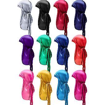 FengChun 12 Stcke Seidiger Durag Kappe Weiches Kopftuch mit Langem Schwanz Elastische Breite Trger