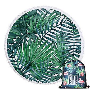 150 Cm skandinaavinen tyyli vihreä jättää kesän pyöreä rantapyyhe kantolaukku