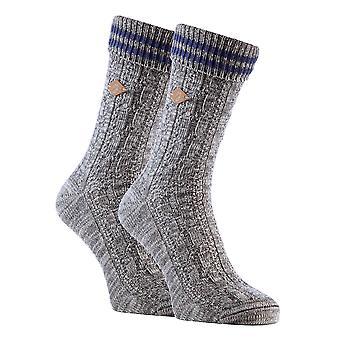 2 calcetines de vestido de bota de algodón de punto de cable para hombre Pk
