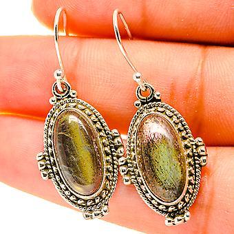 """Labradorite Earrings 1 1/2"""" (925 Sterling Silver)  - Handmade Boho Vintage Jewelry EARR417147"""
