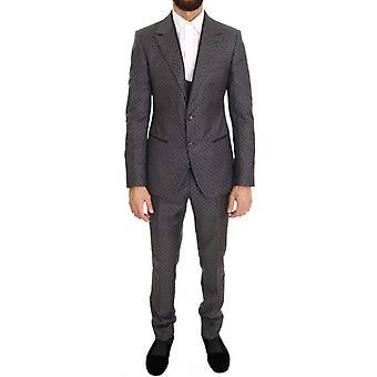 Dolce & Gabbana Harmaa Polka Katkoviiva Slim Fit 3-osainen puku