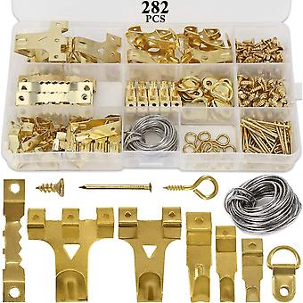 282pcs Picture Hooks For Hard Walls, Picture Hanging Kit For Picture Frame Fixing, Assorted Picture Hanger Set With 62 Steel Hooks, 30 Sawtooth Hanger