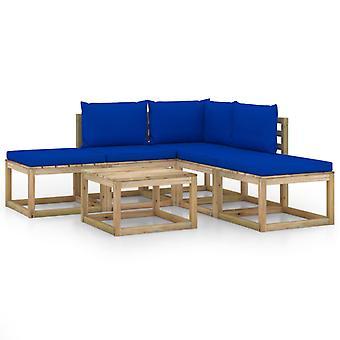 vidaXL 6 pcs. Garden Lounge Set with Blue Pillows