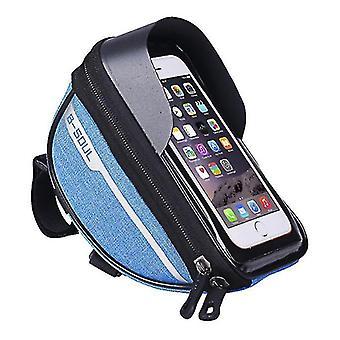 Bicycle waterproof phone bag, touch screen operation, earphone wallet storage bag(Blue)