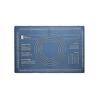 Non-stick Silicone Pastry Mat Large With Measurements Baking Mat Dough Rolling Mat(Blue)