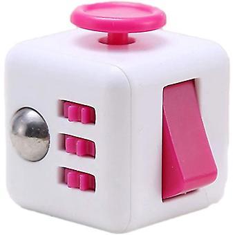6 kanten Fidget Speelgoed Cube Fidget Cube verlicht stress en angst kubus (rose rood)