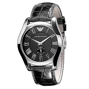 Emporio Armani AR0643 Black Leather Black Dial Chronograph Watch
