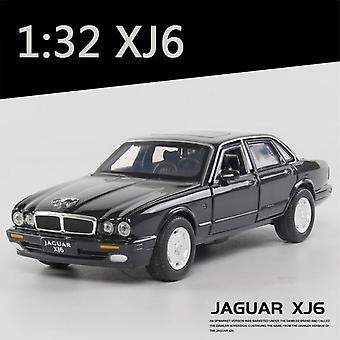 1:32 Jaguar XJ6 Modello di auto In lega Modello di auto Suono e luce Giocattolo bambino Oggetti da collezione (Nero)