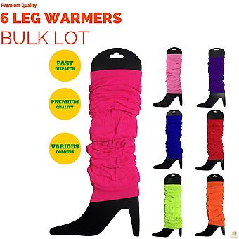 6X leg warmers knitted womens neon party knit ankle fluro dance costume 80s bulk