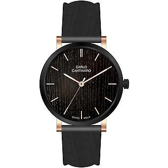 Carlo Cantinaro Black Genuine Leather CC1001GL008 Men's Watch