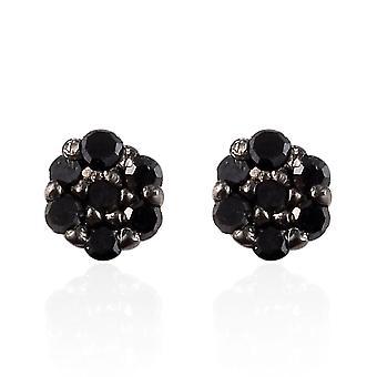 Fekete gyémánt stud fülbevaló ékszer Sterling ezüst tökéletes ajándék neki