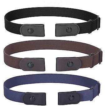 3 Csomag Nincs csat Láthatatlan Stretch Öv-fekete+barna+kék