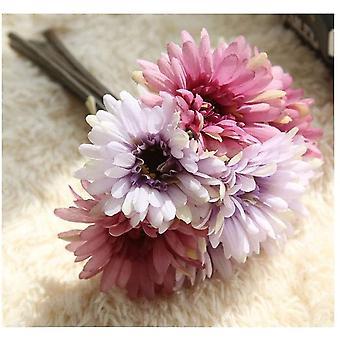 Margherita artificiale Fiore Sposa Damigella Bouquet 7 Rami Seta Margherita Fiore Fai da sposa Decorazione viola