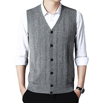 Silktaa Men's V-neck Knitted Vest Solid Color Sleeveless Cardigan Vest