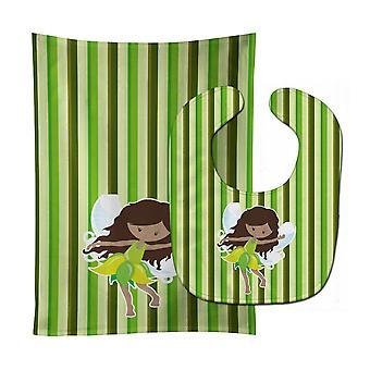 Tesori di Carolines BB6912STBU fata strisce verdi bavaglino & Burp Cloth