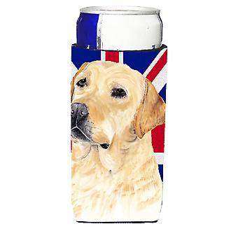 Labrador mit englischen Union Jack britische Flagge Ultra Getränke Isolatoren für schlanke