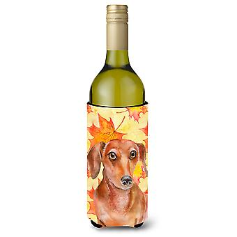 Red Dachshund Fall Wine Bottle Beverge Insulator Hugger